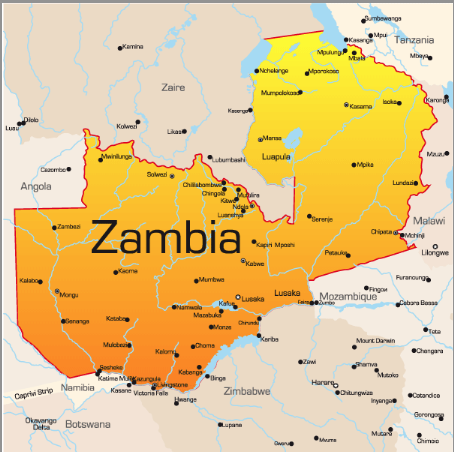 Map of Zambia, East Africa: Frpm Africa Travel Magazine